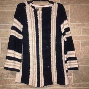 Chicos Navy/white/gold Sweater Size 1/Medium